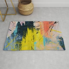 Adventurer: A vibrant abstract mixed-media piece in pink yellow and green by Alyssa Hamilton Art Rug