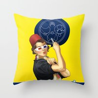 feminism Throw Pillows featuring Whovian feminism by ElinJ