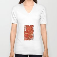 wood V-neck T-shirts featuring - wood - by Magdalla Del Fresto