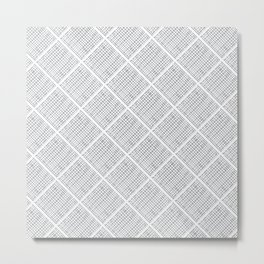 Grey Scratched Tile Pattern Metal Print