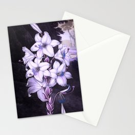 The White Lily w/ Variegated-leaves Lavender Temple of Flora Stationery Cards