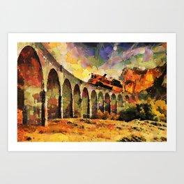Train crossing the stone bridge Art Print