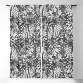 Black & White Tie Dye Swirls Blackout Curtain
