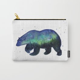 Polar Bear Silhouette with Northern Lights Galaxy Carry-All Pouch