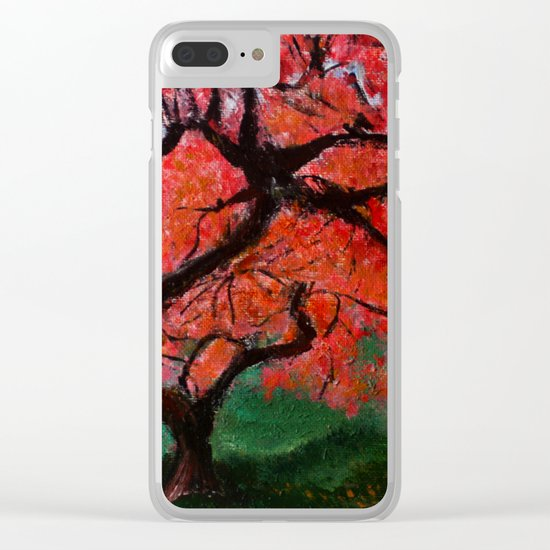 Japanese Maple Tree Acrylics On Canvas Board Clear iPhone Case