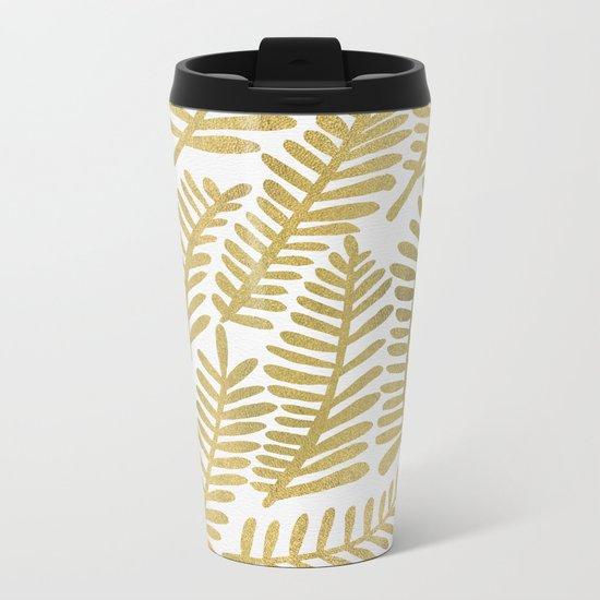 Gold Fronds Metal Travel Mug