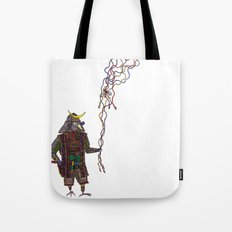 Samurai Bird Play Tote Bag