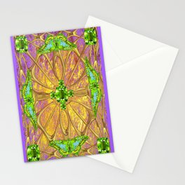 Lilac-Gold Green Peridot Gems August Birthstone Design Stationery Cards