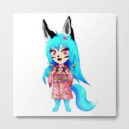 Chibi Manga Anime Girl Alaska Yokai Wolf Fox Metal Print