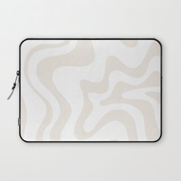 Liquid Swirl Abstract Pattern in Pale Beige and White Laptop Sleeve
