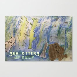 Sea Otters and Kelp Canvas Print