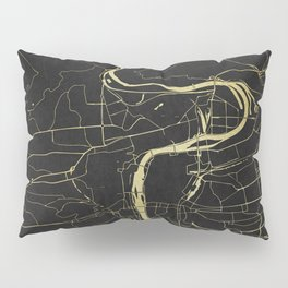 Prague Black and Gold Map Pillow Sham