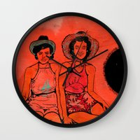 hats Wall Clocks featuring Beach Hats by Meagan Alwood Karcic