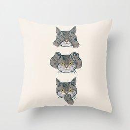No Evil Cat Throw Pillow
