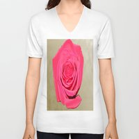 rose gold V-neck T-shirts featuring Gold 'n Rose by Twilight Wolf