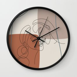 Erotic lesbian line art LGBTQ couple line art best friends love art body lesbians one line art Wall Clock