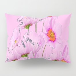 PASTEL FUCHSIA PINK COSMOS FLOWERS  ON PINK COLOR Pillow Sham