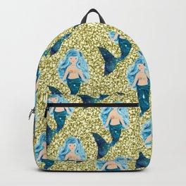 Blue Gold Glitter Mermaid Comforters Backpack