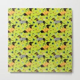 Sweater Weather - Lime Green Dachshund Pattern Metal Print