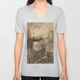 Hikers climbing up to a Mountain Chalet Unisex V-Neck
