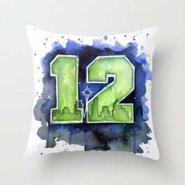 Seattle 12th Man Art Throw Pillow