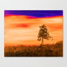 """""""Tree Line #7"""" Orange Hue Painting Canvas Print"""