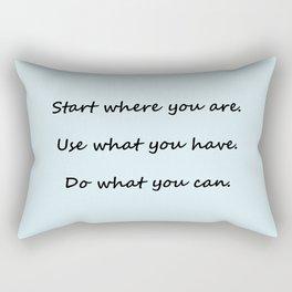Start where you are - Arthur Ashe - light blue script Rectangular Pillow