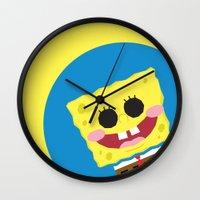 spongebob Wall Clocks featuring Spongebob Squarepants by Eyetoheart