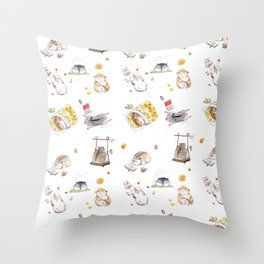 Lazy Hamster Throw Pillow