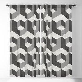 Geometric Cube Pattern 2 - Black, White, Grey Blackout Curtain