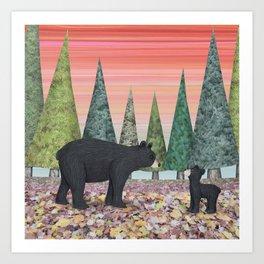 black bears & evergreens Art Print