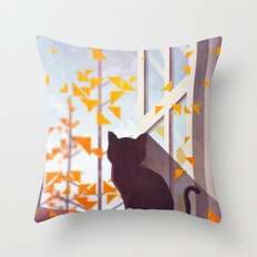 The Last Autumn Leaves Throw Pillow