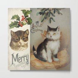 Merry Catmas vintage cat xmas illustration Metal Print