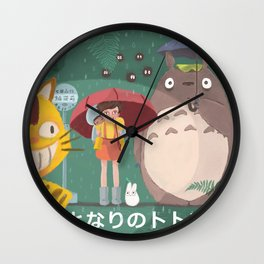 Waiting Neko Bus Wall Clock