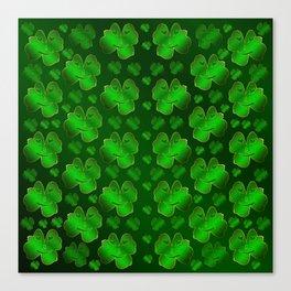 funny, laughing, shamrocks, green, st patricks day, shiny, gold, face, smile, shamrock Canvas Print