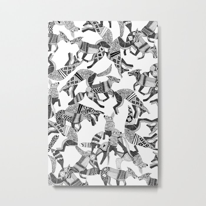 woodland fox party black white Metal Print