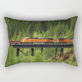 Train Going Over The Goat Leak Bridge Rectangular Pillow