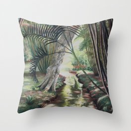 Quelque part au Jardin de Pamplemousse Throw Pillow