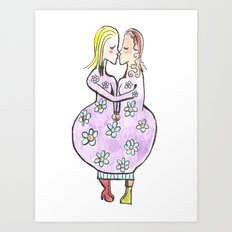 Kissing women in a flower dress Art Print