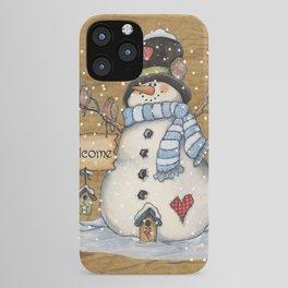 Folk Art Snowman Christmas iPhone Case