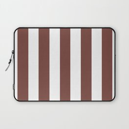 Bole brown - solid color - white vertical lines pattern Laptop Sleeve