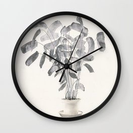 Plant in ink Wall Clock