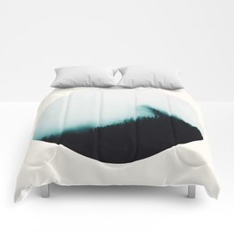 Mid Century Modern Round Circle Photo Minimal Turquoise Blue Foggy Pine Forest Silhouette Comforters