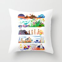 onward Throw Pillows featuring Onward by Kitkat Pecson