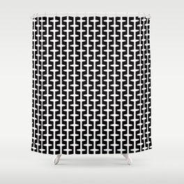 Geometric Pattern 207 (black white) Shower Curtain
