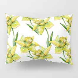 Spring hand painted yellow green watercolor daffodils floral Pillow Sham