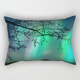 Tree Branch and Aurora Borealis Night Sky Rectangular Pillow