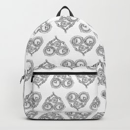 Chemistry of love: dopamine and serotonin formula (black and white version) Backpack