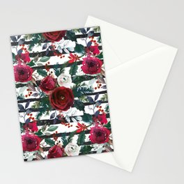 Festive Red Floral Arrangement on White with Black Stripes  Stationery Cards