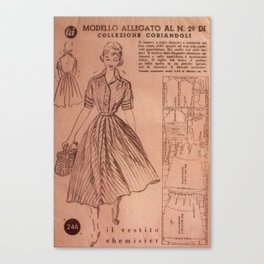 Vintage sewing pattern, 1950s  Canvas Print